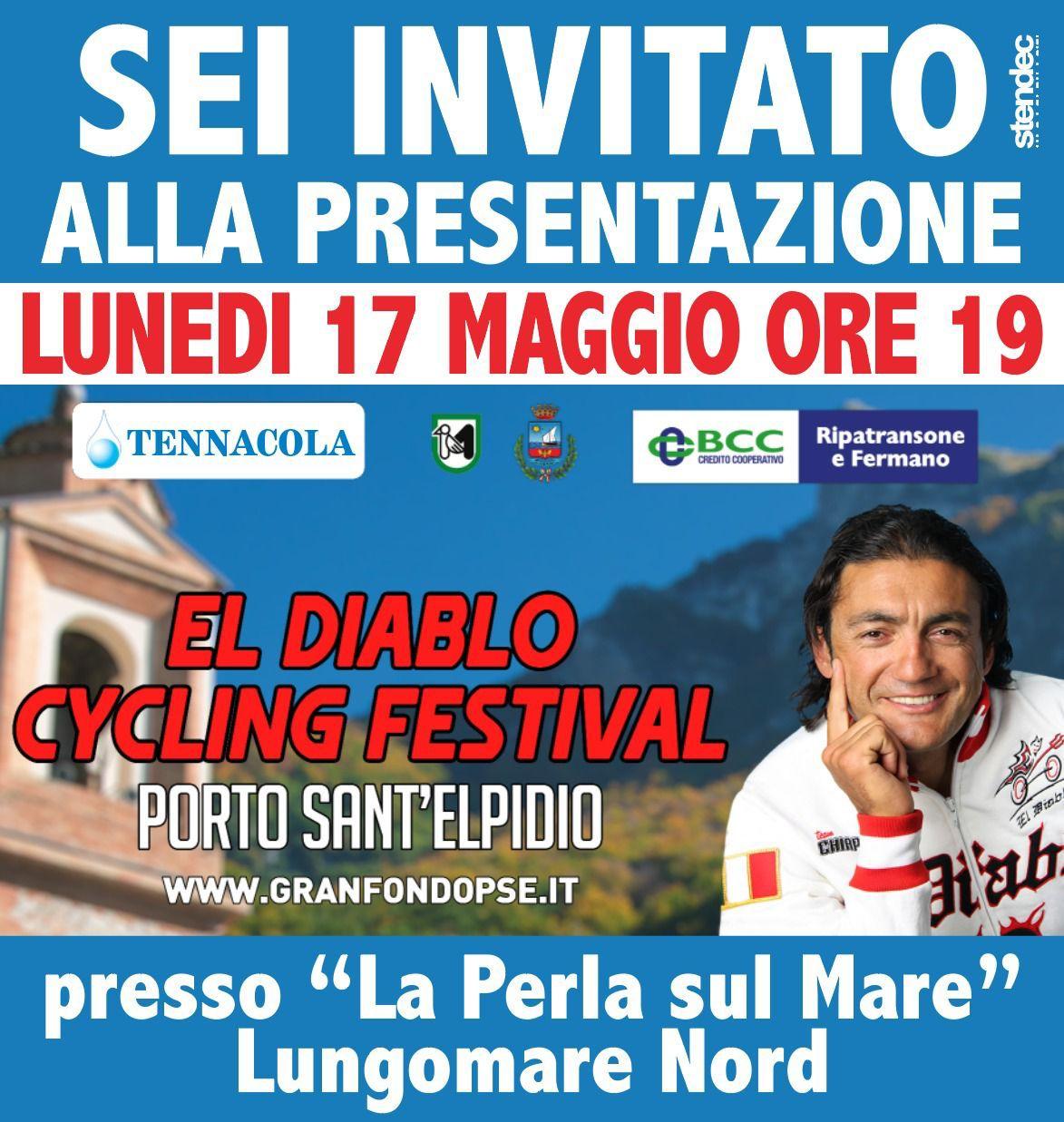 Invito alla presentazione di El Diablo Cycling Festival a Porto Sant'Elpidio, Marche con Claudi Chiappucci