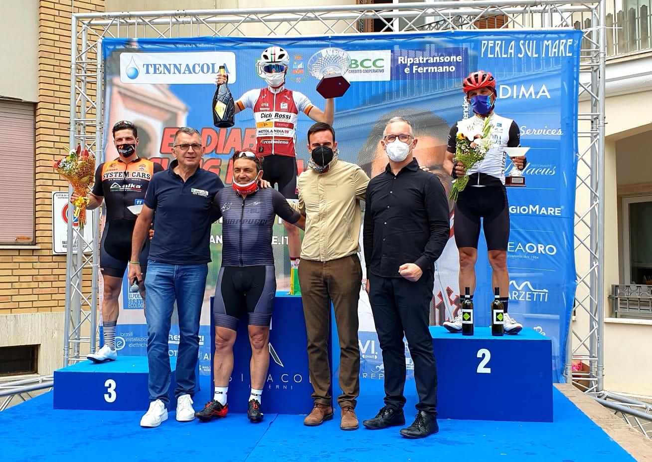 Gran Fondo Tre Santuari del Fermano 2021 El Diablo Cycling Festival, podio maschile con presenza di Claudio Chiappucci