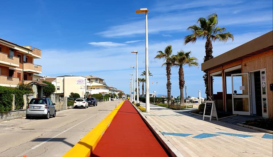 La nuova sezione di pista ciclabile a Porto Sant'Elpidio