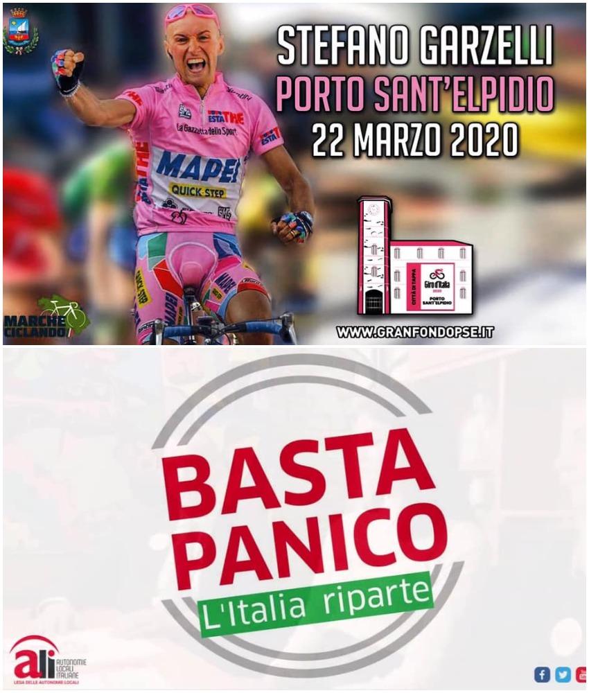 Locandina Basta Panico! Il 22 marzo vieni a pedalare con Stefano Garzelli alla Granfondo Porto Sant'Elpidio